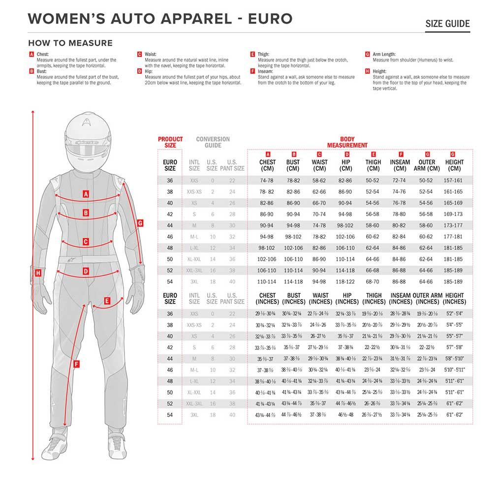 Sparco & Alpinestars Suit Sizing Chart