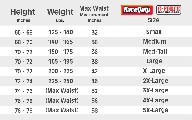 RaceQuip & G Force Suit Sizing Chart