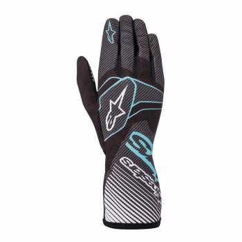 Alpinestars - Alpinestars Tech-1 K Race V2 Karting Glove Carbon Small Black/Turquoise - Image 1