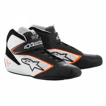 Alpinestars - Alpinestars Tech-1 T  Racing Shoe 10.5 BLACK/WHITE/ORANGE FLUO - Image 1