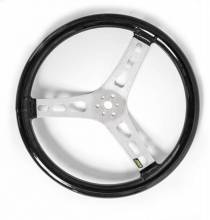 "Joes Black Rubber Coated 15"" Flat Steering Wheel"